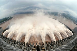 Three gorges dam: Water is discharged from the Three Gorges Dam in Yichang, Hubei province
