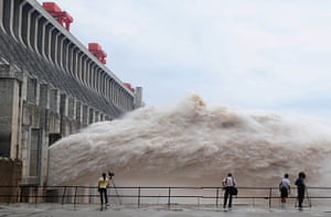 Three gorges dam: Flood water is released from the Three Gorges Dam's floodgates