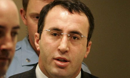 Ramush Haradinaj at the UN tribunal for the former Yugoslavia in The Hague, Netherlands