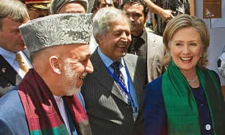 Hamid Karzai and Hillary Clinton