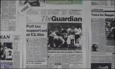 The Guardian reports England's penalty shoot-out defeat to West Germany at Italia 90