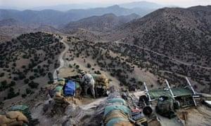 A US soldier near Camp Tillman, Afghanistan, after rockets were fired near the Pakistan border