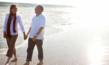 middle-aged couple on beach