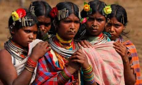 Dongria Kondh tribe members protest against Vedanta