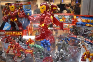 Comic Con: Figurines of the character Iron Man sit in a display at Comic Con