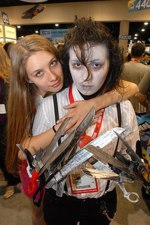 Comic Con: A person dresses as the movie character Edward Scissorhands at Comic Con