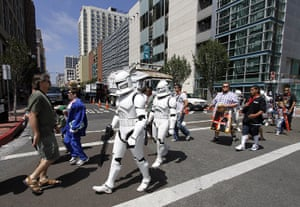 Comic Con: Comic-Con attendees dressed in Star Wars costumes in downtown San Diego