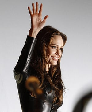 Comic Con: Actress Angelina Jolie leaves a panel for the movie 'Salt' at Comic Con