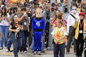 Comic-Con: Attendees wait to cross the road at a traffic light