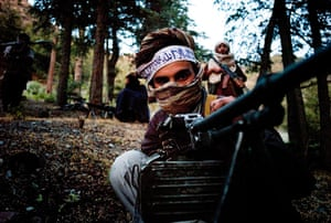 Afghanistan: 16 June 2009: Haqqani Taliban fighters in their mountain camp