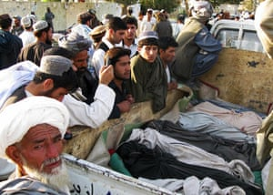 Afghanistan: 16 October 2008: The bodies of Afghans allegedly killed in an air strike