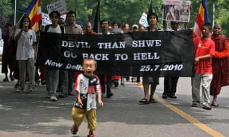 Indian protest against Burma leader