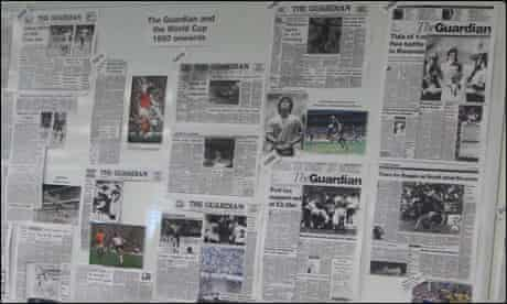 A display of archive Guardian World Cup coverage in our Kings Place offices