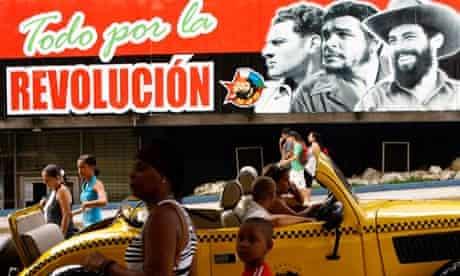 Images of Julio Antonio Mella, Che Guevara and Camilo Cienfuegos in Havana, Cuba.