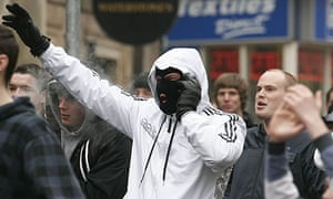 Members of the English Defence League (EDL) protest against Muslim fundamentalism in Stoke