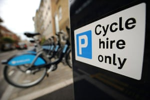 London cycle hire: London Cycle Hire bicycles in a docking point