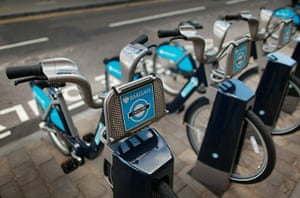London cycle hire: A new docking station contains bicycles for hire in London