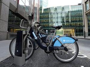 London cycle hire: A row of Boris Bikes in Moorgate