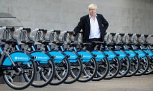 Mayor Boris Johnson at the launch of the Barclays Cycle Hire Scheme on the South Bank, London.