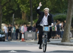 London cycle hire: Mayor Boris Johnson waves to the media as he launches a cycle hire scheme