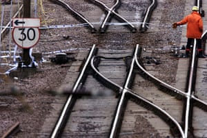 Potters Bar train crash: Railtrack Engineers work on the track at Potters Bar where the points were