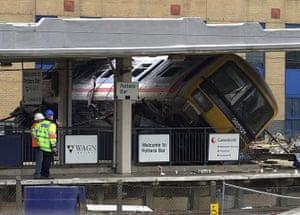 Potters Bar train crash: The scene at Potters Bar Station after a train derailed killing seven