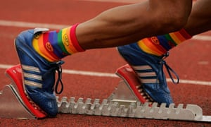 A runner wearing rainbow socks at the Gay Games VII in Chicago in 2006.