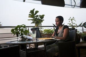 Kigali: Woman works on a computer in Kigali