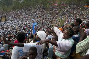 Kigali: Kagame supporters at a rally in