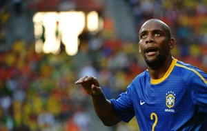 sport: Brazil's defender Maicon reacts during t