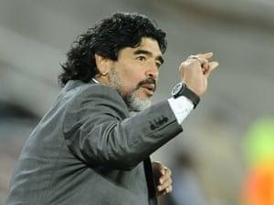 sport: Argentina's coach Diego Maradona gesture