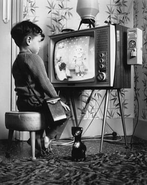 Television: 1963: A little boy watches 'Andy Pandy' at home on a pay television
