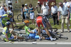 TDF Crashes: Garmin's David Millar of Britain and Liquigas' Ivan Basso of Italy
