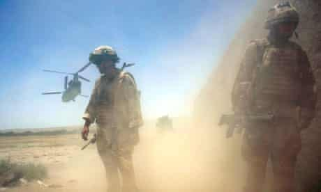 British helicopter takes off in Sangin valley