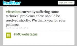 Government web status Twitter alert