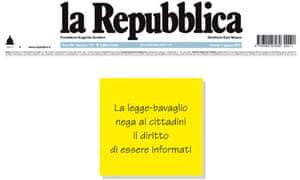 Front page of La Repubblica