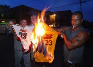 LeBron James: Cleveland Cavaliers fans set fire to LeBron James jerseys