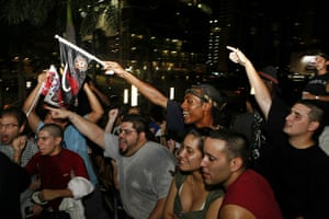 LeBron James: Miami Heat fans celebrate at the American Airlines Arena
