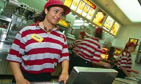 McDonald's staff serving customers