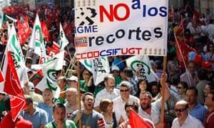 Public sector workers demonstrate in Spain