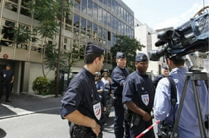 Bettencourt case 2: French policemen stand guard at front of the headquarters of Clymene