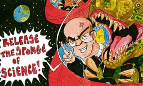 Cartoon of David Willetts: 'Release the sponge of science'