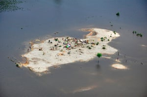 aerial update: Families marooned by flood waters in the Rajanpur district