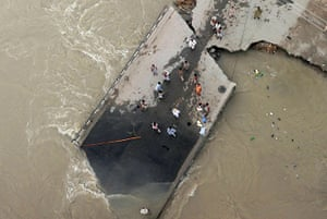 aerial update: A broken bridge surrounded by floodwaters in Ghazi Gaht