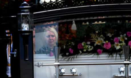 Mourners at the funeral of Suzanne Blamires in Bradford
