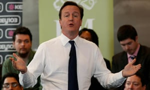David Cameron during a public Q&A event in Manchester on 10 August 2010.