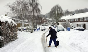Man walking on snowy street