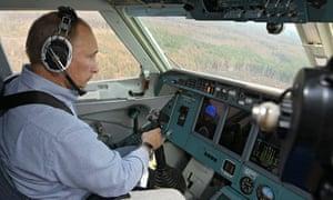 Vladimir Putin in a firefighting plane