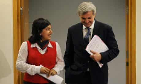 Lady Warsi and Chris Huhne on 11 August 2010.