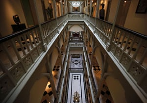Taj Mahal Palace hotel: A security guard stands inside the heritage wing of the Taj Palace Hotel